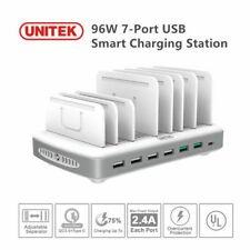 UNITEK Multiple Device Charging Station 96W 7-Port USB Charger + QC 3.0 + Type C