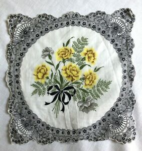 Vintage Cotton Floral Handkerchief Yellow Flower with Black Print Lacework