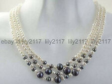 natural Beautiful 3 rows white black pearl 7-8mm women necklace 17-19""