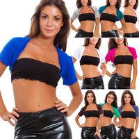 Coprispalle donna top bolero maniche corte giacca elasticizzato basic AS-1180