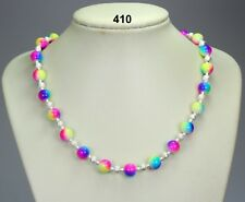 "Multi-coloured luminous 10mm glass bead necklace, silver stardust spacers 19""+2"