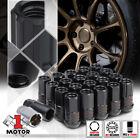 (16) Black M12x1.5 45mm Full Threaded Open End Tuner Wheel Lug Nut w/(4)Lock+Key