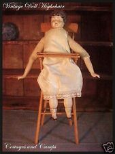Vintage Antique Wooden Highchair for a Doll Nice warm Patina 17""