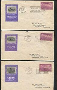 Lot of 3 First Day Covers 1939 Washington Montana South Dakota Stamps #858