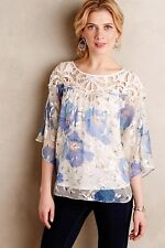 Anthropologie Vanessa Virginia Florafall Blue Floral Peasant Top sz 4 NEW $138