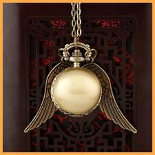 Pendant Necklace Steampunk Quidditch Wings Harry Potter Snitch Pocket Watch y0