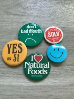 Lot of 5 Deadstock Vintage 70s Funny Political Button Pins Pinbacks Smiley USA