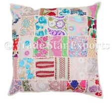 """Indian Ethnic Cushion Cover 22"""" Patchwork Embroidered Pillow Case Home Decor"""