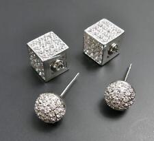 Women Men Unisex Shiny Silver CZ Cubic Zirconia Pave Cube Ball Stud Earrings