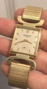 Vintage Solid 14K Gold Longines 17j Swiss 22L Men's Tank Swivel Lugs Watch