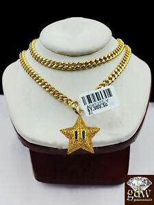 10k Yellow Gold & Diamond Star Emoji Charm with 26 Inch Miami Cuban Chain Real.