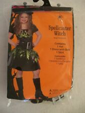NEW Girls Spellcaster Witch Costume  Large = 10/12 Dress Hat Belt