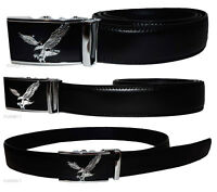 Men's belt, Genuine Leather Belt, Auto Lock Silver Eagle Buckle up to 50 inches