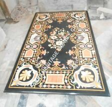 6'x3' Marble Black Dining Outdoor Table Top Handmade Inlay Hallway Decor H3463A