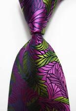 New Classic Floral Rose Green JACQUARD WOVEN 100% Silk Men's Tie Necktie