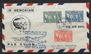 1947 Philippines FDC Quezon & Roosevelt Airmail issue #C64-6