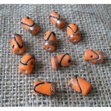 20 HANDMADE INDIAN LAMP WORK GLASS BEADS ~ 18mm Orange Tube ~ 60