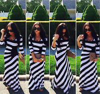 Women's Crew Neck White-Black Stripes Long Sleeve Casual Maxi Dress Plus Size