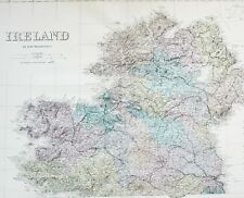 1883 LARGE MAP IRELAND NORTHERN SECTION TYRONE DONEGAL LONDONDERRY MEATH DUBLIN
