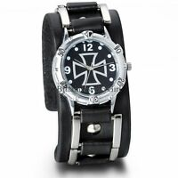 Men's Black Wide Leather Band Cross Pattern Analog Quartz Movement Wrist Watch