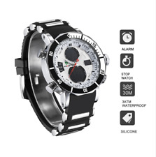 Sports Wrist Watch Men Boys Chronograph Movement Silicone Watch Strap Stainless