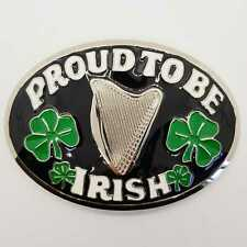 Proud to Be Irish Belt Buckle Biker Metal Rangers Shamrock Harp St Patrick's