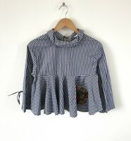 ZARA STRIPED SMOCK CROP TOP SHIRT BLOUSE SIZE XS