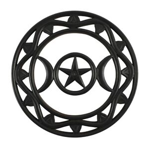 Black Wooden Triple Moon Wall Hanging Decoration Altar Wiccan Pagan Witch