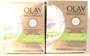 2 Boxes Olay Daily Facial 5in1 Sensitive Clean 33 Ct Water Activate Dry Cloths