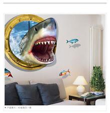 Wall Stickers 3D Shark Bedroom Decor Stickers Waterproof Remover Wallpaper