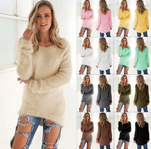 Womens Winter Fleece Fluffy Crew Neck Sweater Jumper Ladies Warm Pullover Blouse