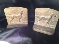 Vintage Rare HTF Irish Setter Solid Brass Bookends Weigh 3 Lbs Each See Pics!,