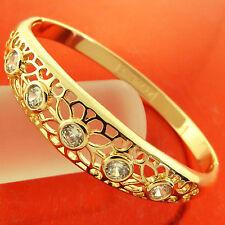 BANGLE BRACELET GENUINE 18K YELLOW G/F GOLD DIAMOND SIMULATED FILIGREE DESIGN