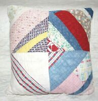 Throw Pillow Made From Vintage 1930's Farmhouse Feedsack Patchwork Quilt