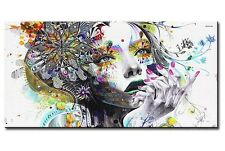 HUGE MODERN ABSTRACT WALL DECOR ART OIL PAINTING  - Colorful Pretty Girl