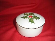 Trinket Or Ring Round China Container With Lid Goldtone Edging