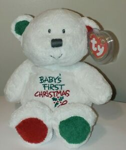 Ty BABY TY  MY BABY BEAR (Baby's First Christmas)(8 Inch) MWMT Stuffed Plush Toy