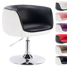 1 x Barsessel Clubsessel Lounge Sessel mit Lehne Chrom Schwarz+Weiss BH42szw-1