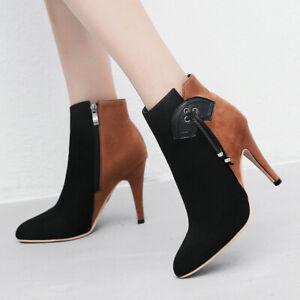Women's Winter Ankle Boots Suede Zipper Stiletto Heel Booties Shoes US 6 Brown