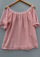 Lilly Pulitzer Top Small Lillette Shirt Pink Eyelet Lace Off The Shoulder Blouse