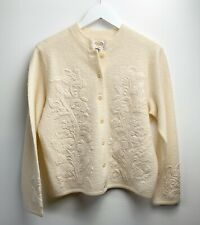 Talbots Sweater Sz Small Cardigan 100% Wool Embroidered Button Down Cream Ivory