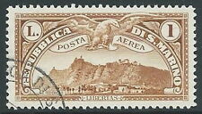 1931 SAN MARINO USATO POSTA AEREA VEDUTA 1 LIRA - M15-2