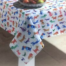 Cynthia Rowley Watercolor Dog Outdoor Tablecloth Green Blue Purple Pink 60x84