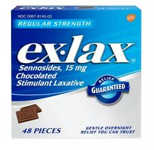 New Ex-Lax Regular Strength Chocolated Stimulant Laxative 48 Count