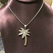 Palm Tree Crystal Necklace Stainless Steel Pendant Silver