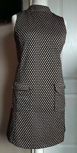 Gorgeous 60's Style Mini Dress Short Retro Size 12 Black/ Gold Pockets