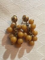 VINTAGE YOLK YELLOW BEADED LUCITE CLUSTER CHA CHA DANGLE SCREW BACK EARRINGS 2""