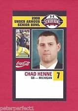 CHAD HENNE 2008 SENIOR BOWL MICHIGAN WOLVERINES ROOKIE CARD JACKSONVILLE JAGUARS