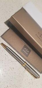 PARKER Sonnet France Made Silver Gold Trim Twist Mech. Ballpoint Pen Boxed New
