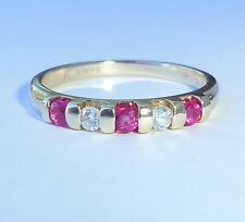 9ct Gold Tension Set Ruby & Diamond Half Eternity Ring, Size N